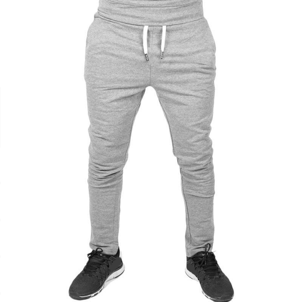 Men Solid Color Gym Fitness Casual Pants light grey_XL