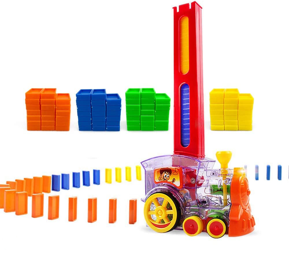 Domino Train Domino Blocks Set Building Stacking Toy Blocks Domino Set for 3-7 Year Old Boys Girls Kids Gifts as shown