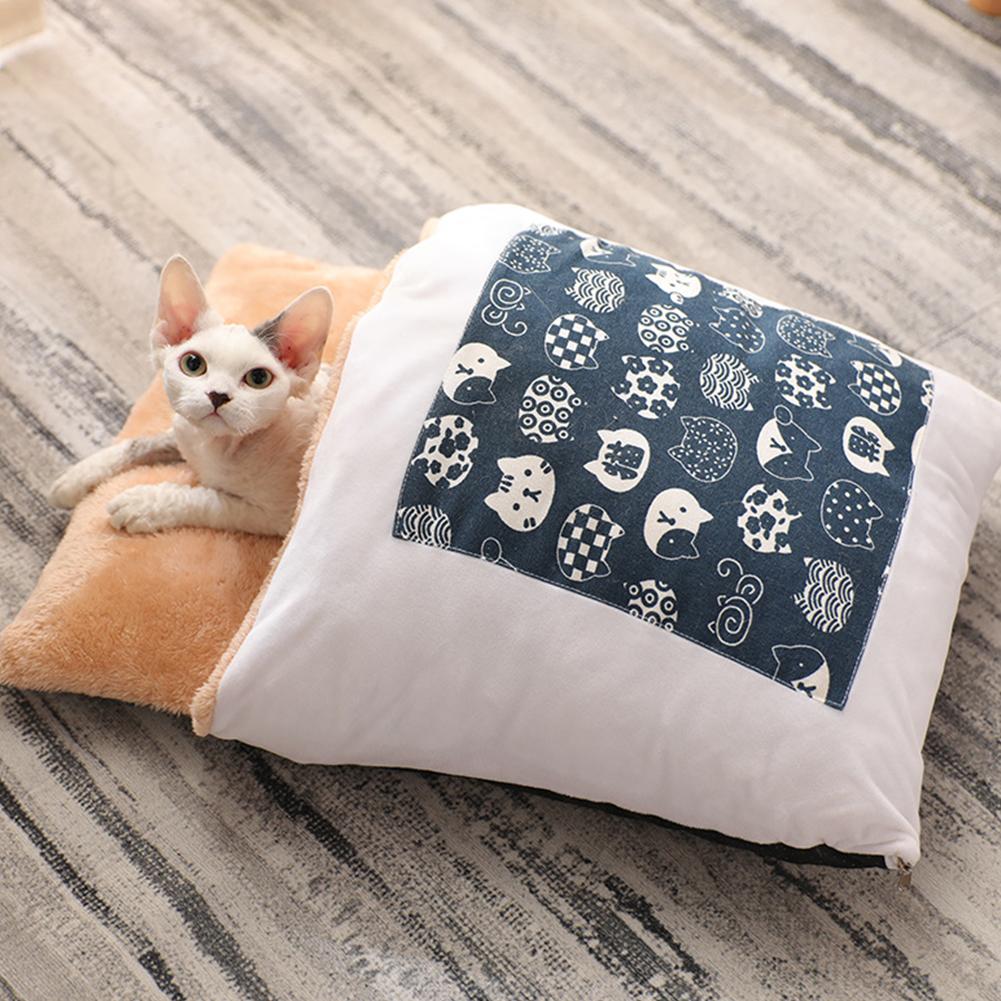 Pet House Winter Warm Sleeping Bag Nest Soft Cushion for Cat Dog Puppy Teddy S (45*30)_blue