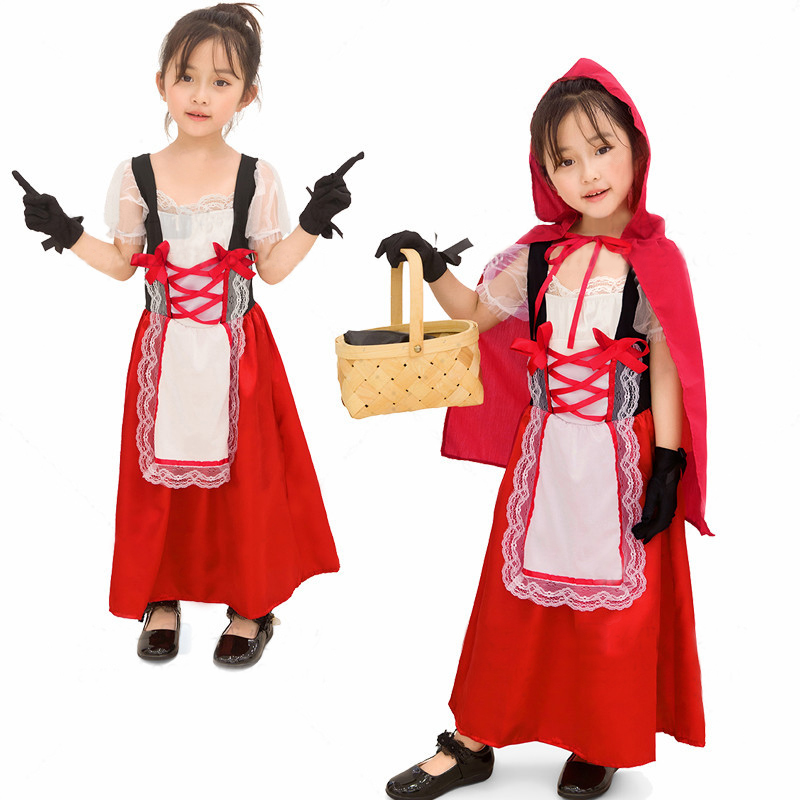 Children Cosplay Costume with Capped Shawl and Gloves for Stage Performance Beer Festival  red_M