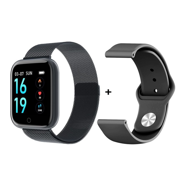 P70 Smart Watch Blood Pressure Measurement Heart Rate Monitor Fitness Bracelet Watch Women Men Smartwatch Support IOS Android black