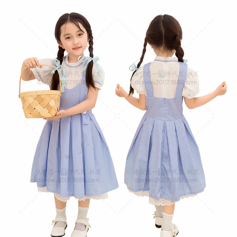 Children Cosplay Dress Costume Cotton Blue Dress for Oktoberfest Beer Festival Halloween  Light blue_S