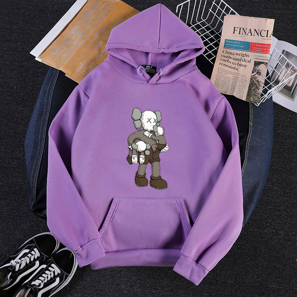 KAWS Men Women Hoodie Sweatshirt Climbing Doll Cartoon Thicken Autumn Winter Loose Pullover Purple_L
