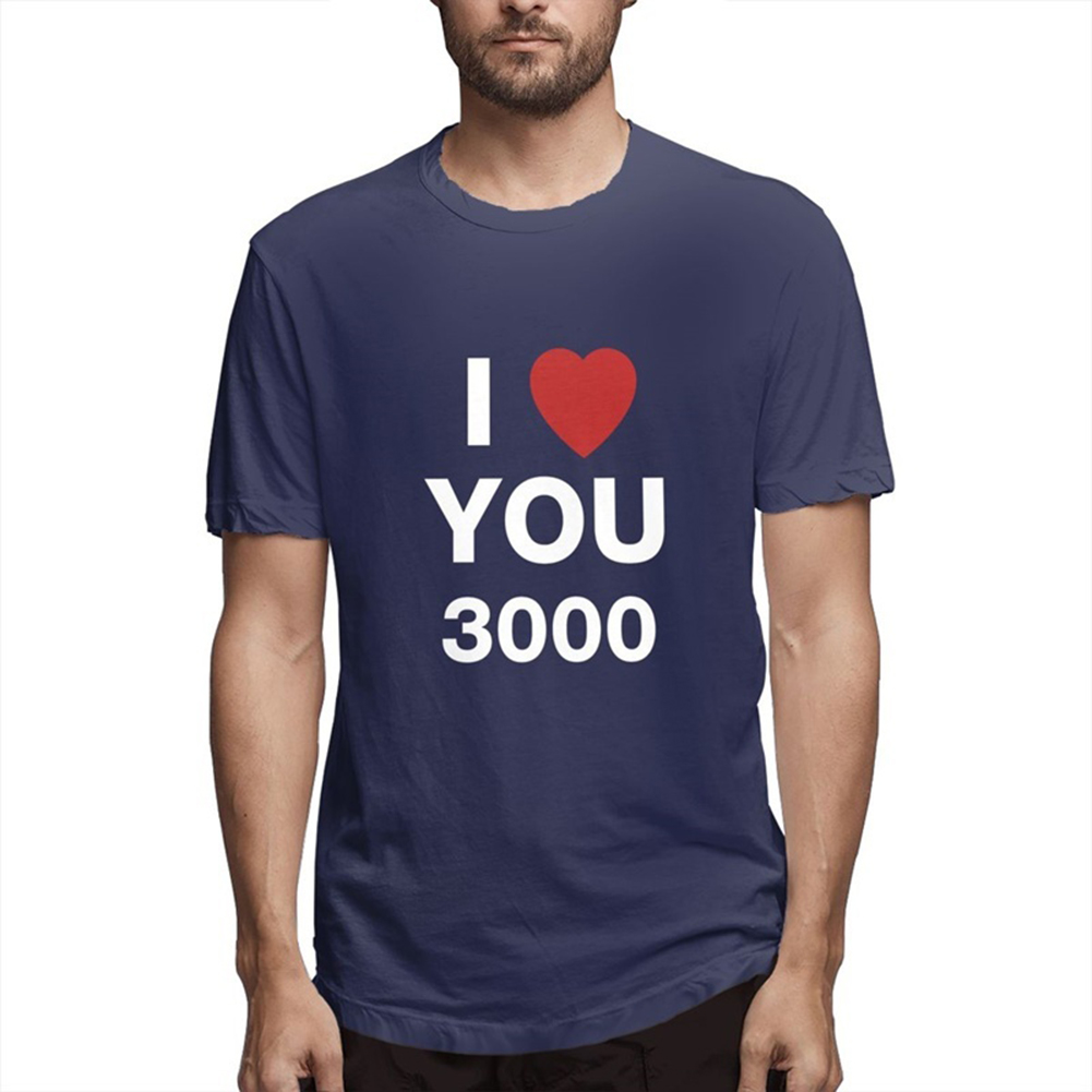 I LOVE YOU 3000 Fashion Letters Printing Unisex Short Sleeve T-shirt A navy blue_M