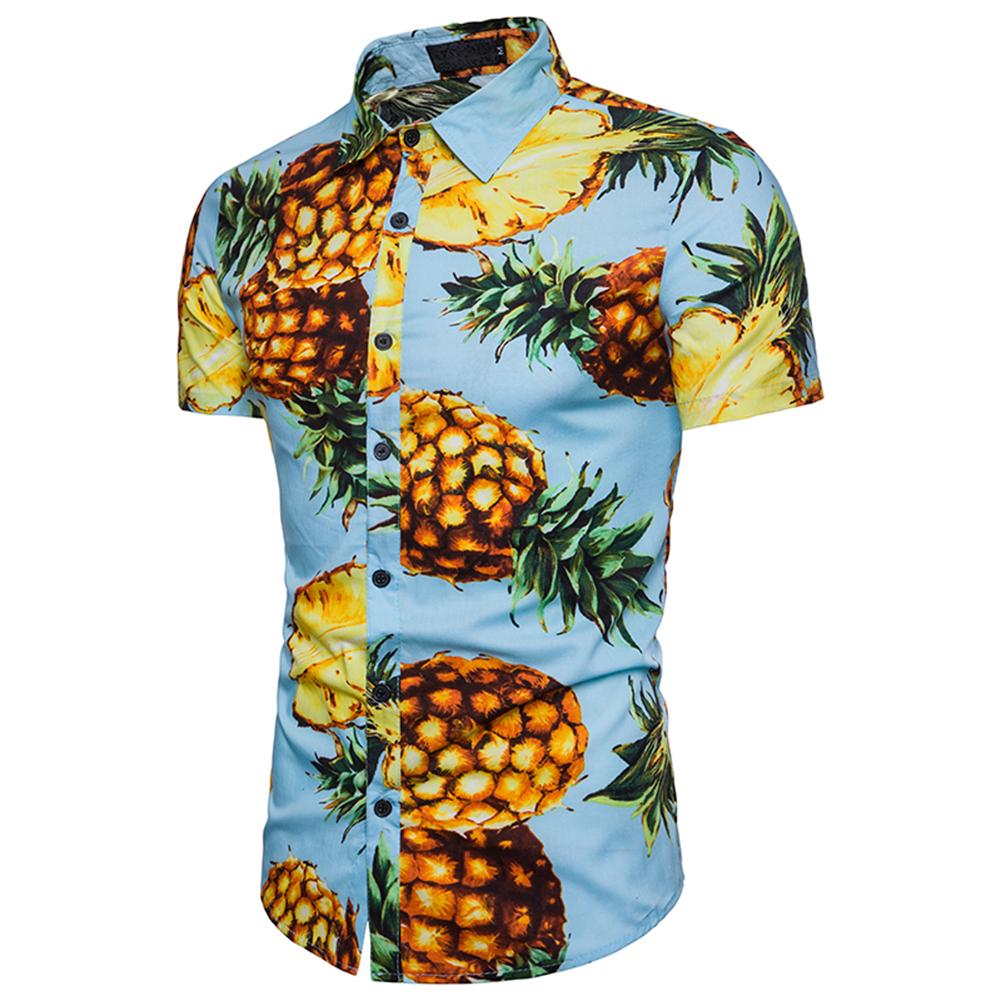 Men Pineapple Printed Casual Short Sleeve Beach Shirt Light blue_2XL