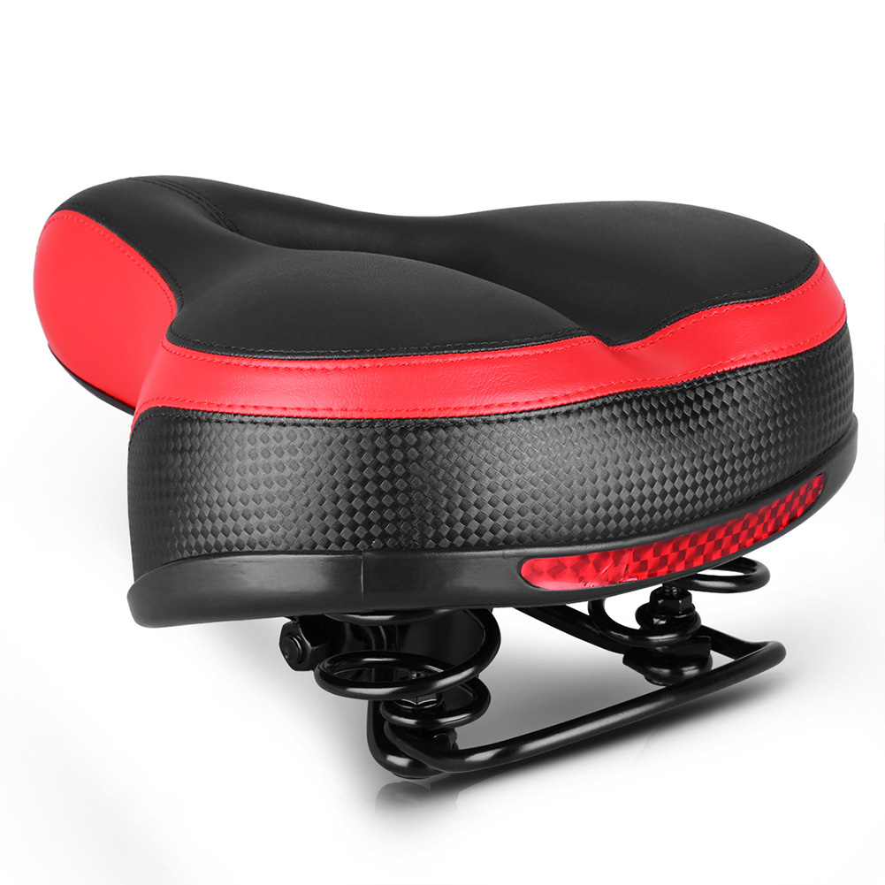 Breathable Waterproof Hollow Bike Seat Large Reflective Shock Absorb Spring Bicycle Saddle Cushion Black and red