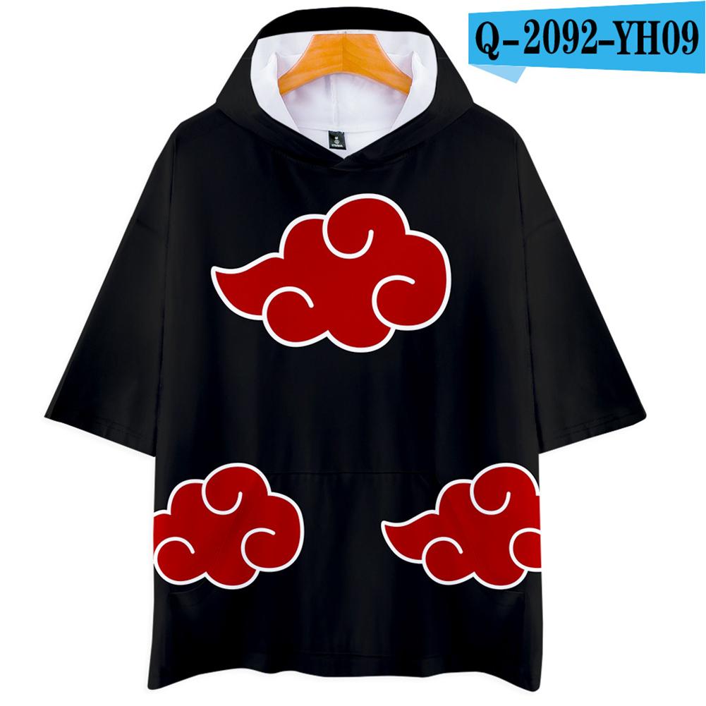 Unisex Fashion Naruto Cosplay Digital Print 3D Hooded Tops Short-sleeved T-shirt  Q-2092-YH09 black_XL