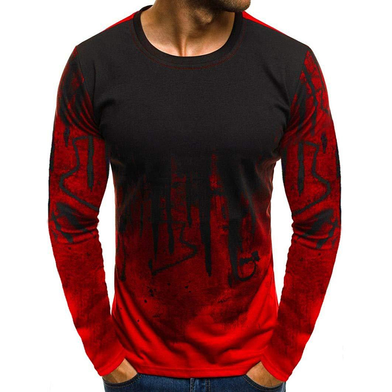 Men Simple Casual Gradient Long-Sleeve Basic T-Shirts Fitness Gym T-Shirt Tops red_L