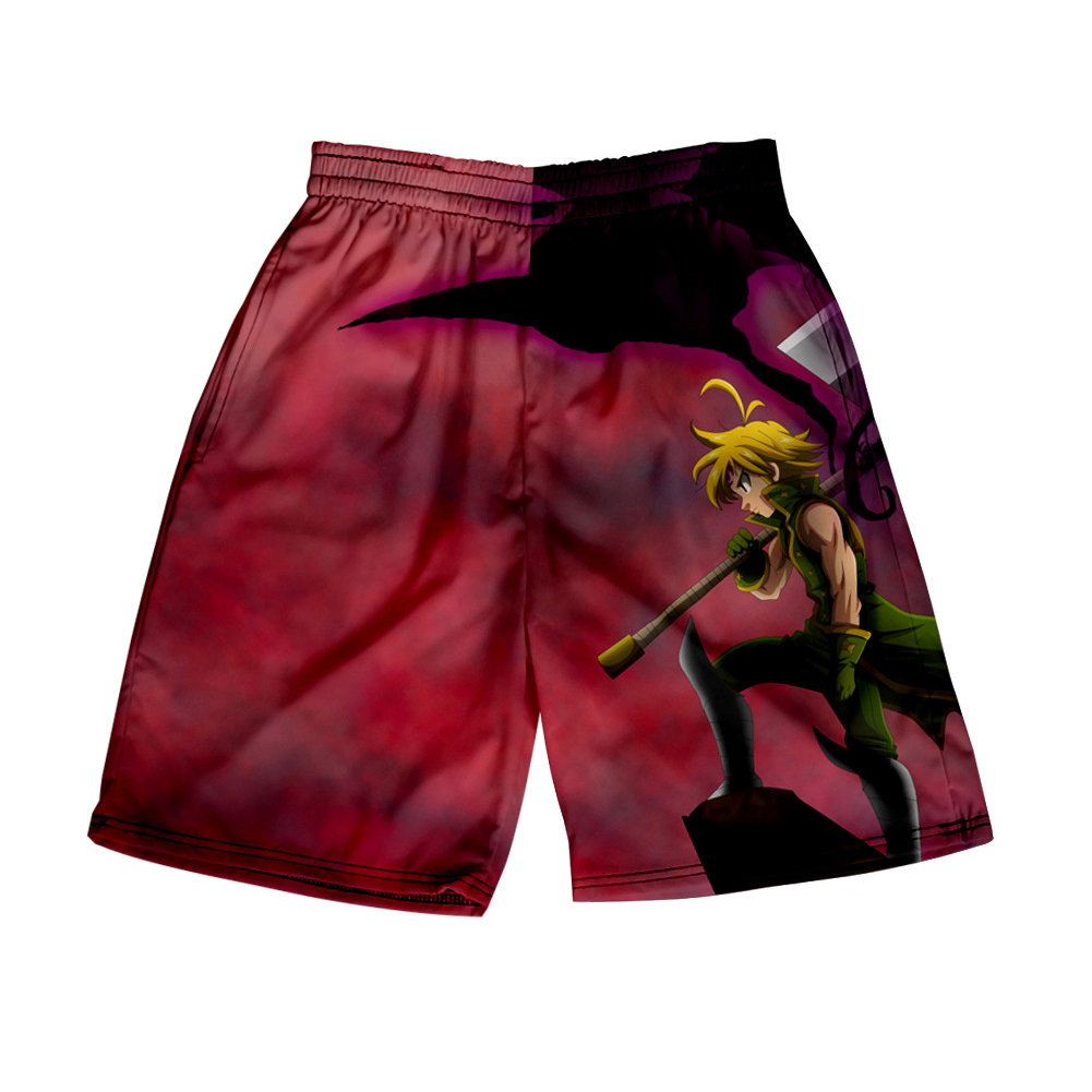 3D Digital Pattern Printed Shorts Elastic Waist Short Pants Leisure Trousers for Man C style_M