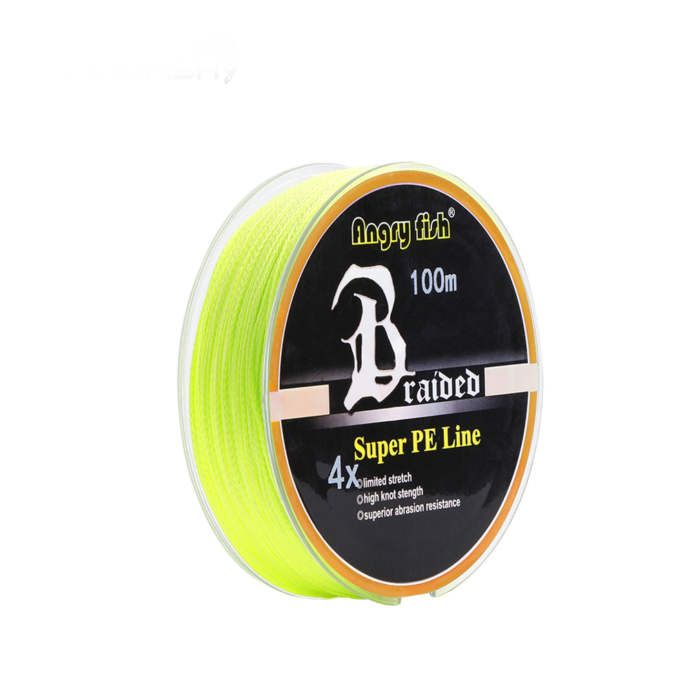 ANGRYFISH Diominate PE Line 4 Strands Braided 100m/109yds Super Strong Fishing Line 10LB-80LB Yellow 4.0#: 0.32mm/40LB