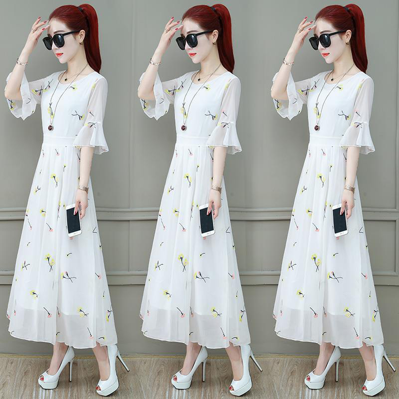 Summer Slim V-neck Long Dress Simple Flower Flare Sleeves Causal Dress yellow_3XL