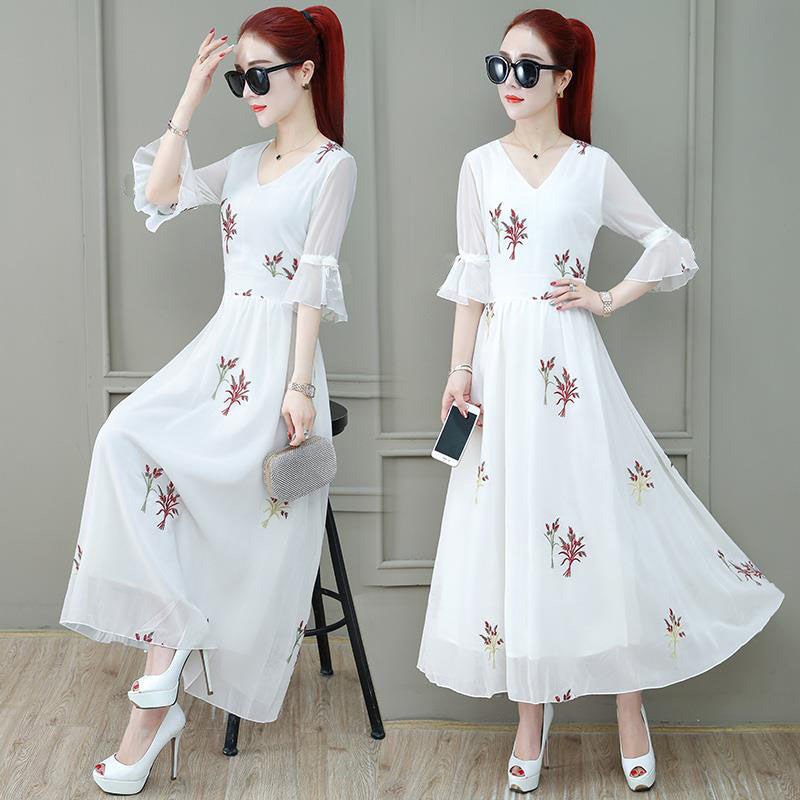 Summer Slim V-neck Long Dress Simple Flower Flare Sleeves Causal Dress red_L