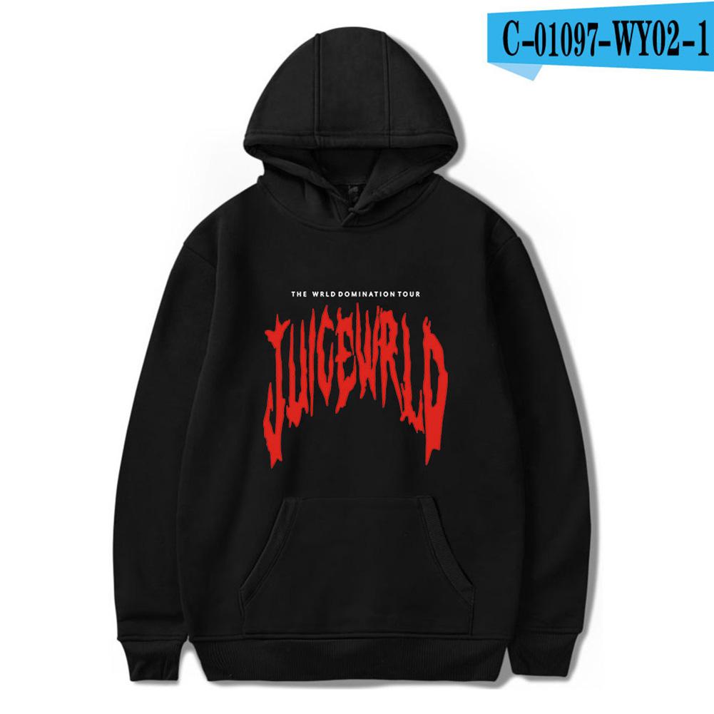 Men Women Hoodie Sweatshirt Juice WRLD Letter Printing Loose Autumn Winter Pullover Tops Black_XXL