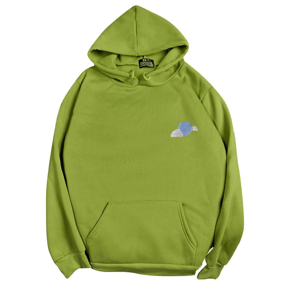 Men Women Hoodie Sweatshirt Thicken Velvet Cloud Loose Autumn Winter Pullover Tops Green_XXL
