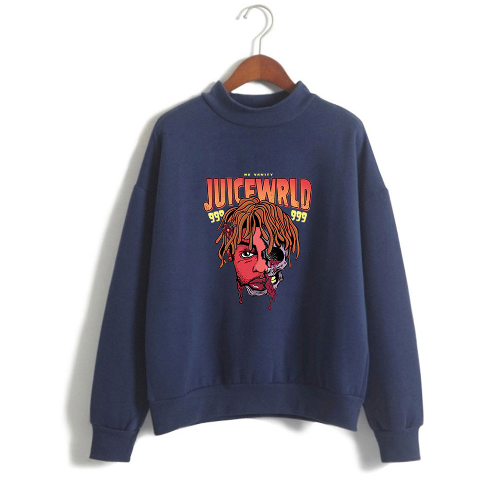 Men Women Couple Fashion Printed Fashion Casual Turtleneck Sweater Tops 4#_S