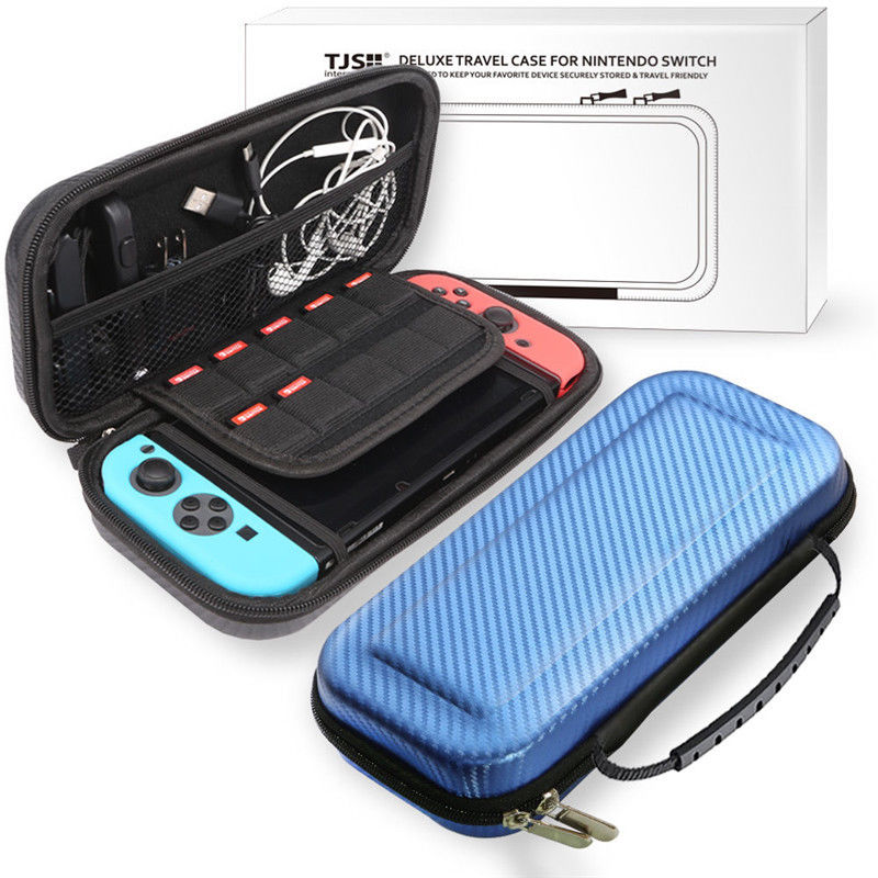For Nintend Switch Portable Bag Carrying Pouch Shell Hard Carbon Fiber Travel Case blue