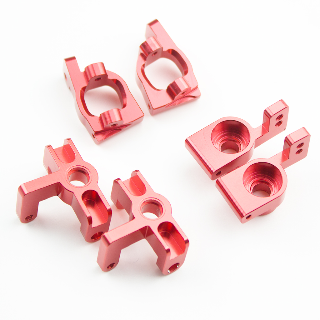 6Pcs/set Metal Front Rear Wheel Seat Base C for WLtoys 144001 1/14 RC Car Upgrade Spare Parts red