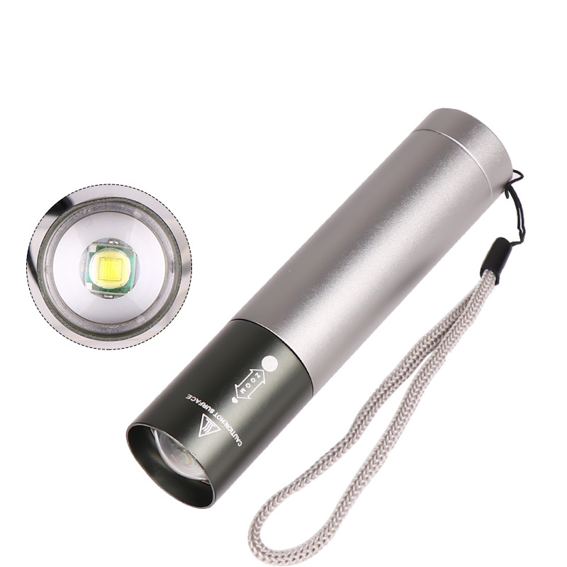 3 Modes Adjustable LED T6 USB Rechargeable Flashlight for Outdoor gray_Model 1463-T6