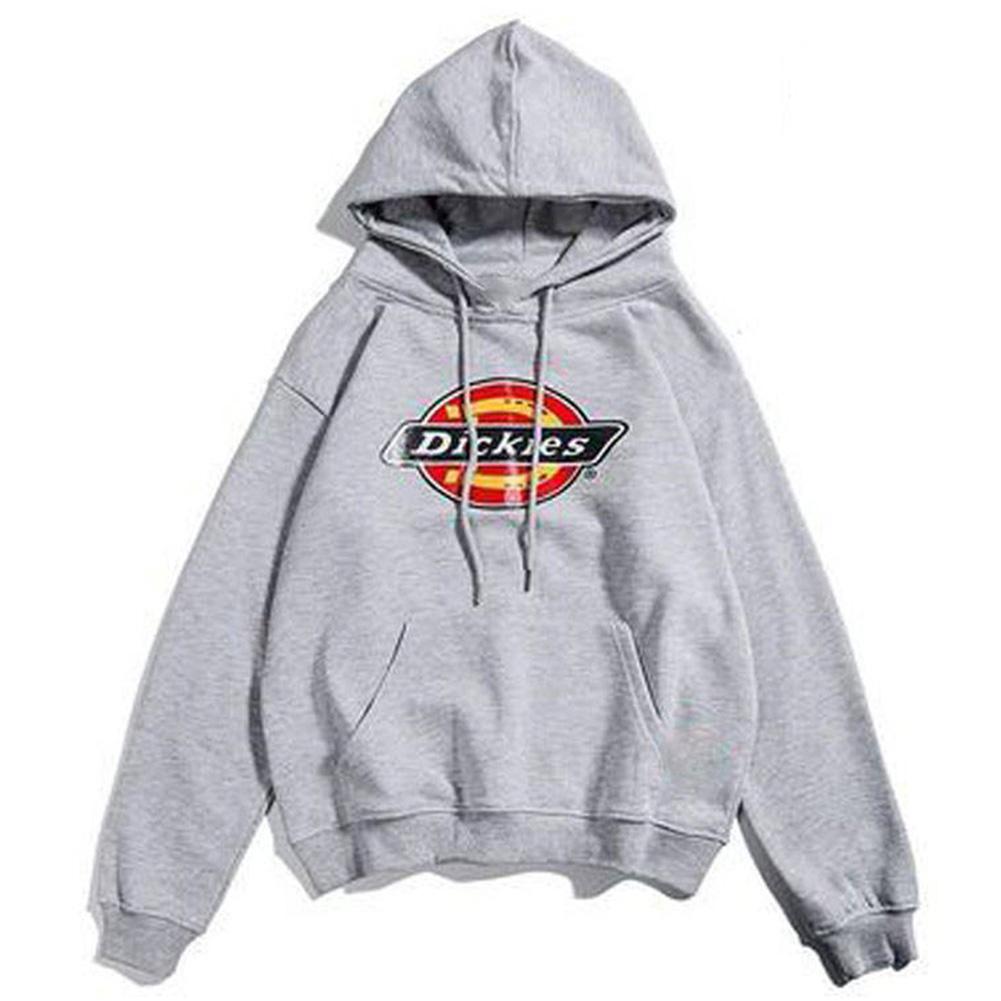 Men Women Hoodie Sweatshirt Thicken Velvet Dickies Loose Autumn Winter Pullover Tops Grey_XL