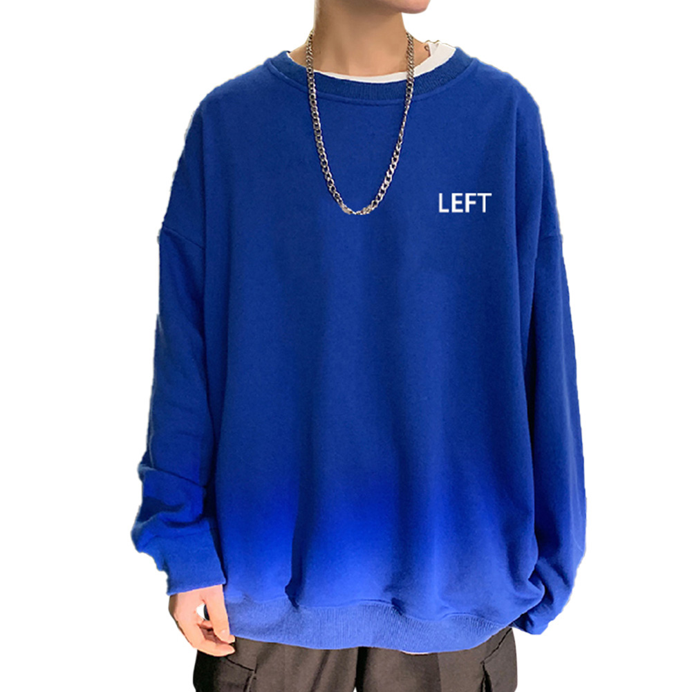 Men Crew Neck Sweatshirt Solid Color Printing LEFT Loose Casual Male Pullover Tops Blue_L