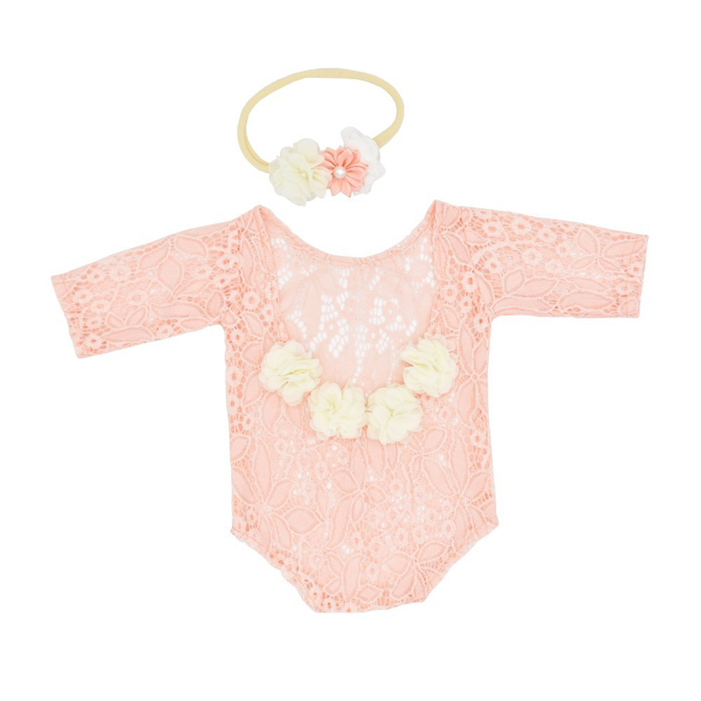 2Pcs/Set Newborn Lace Romper + Headgear Set for Kids Baby Photo Props Costumes Snow bud_Newborn