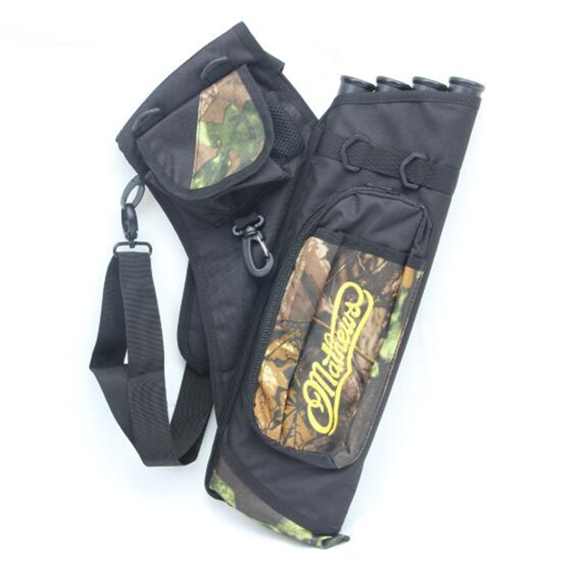 4 Tubes Arrow Quiver for Archery Hunting Arrows Holder Bag with Adjustable Strap Camouflage