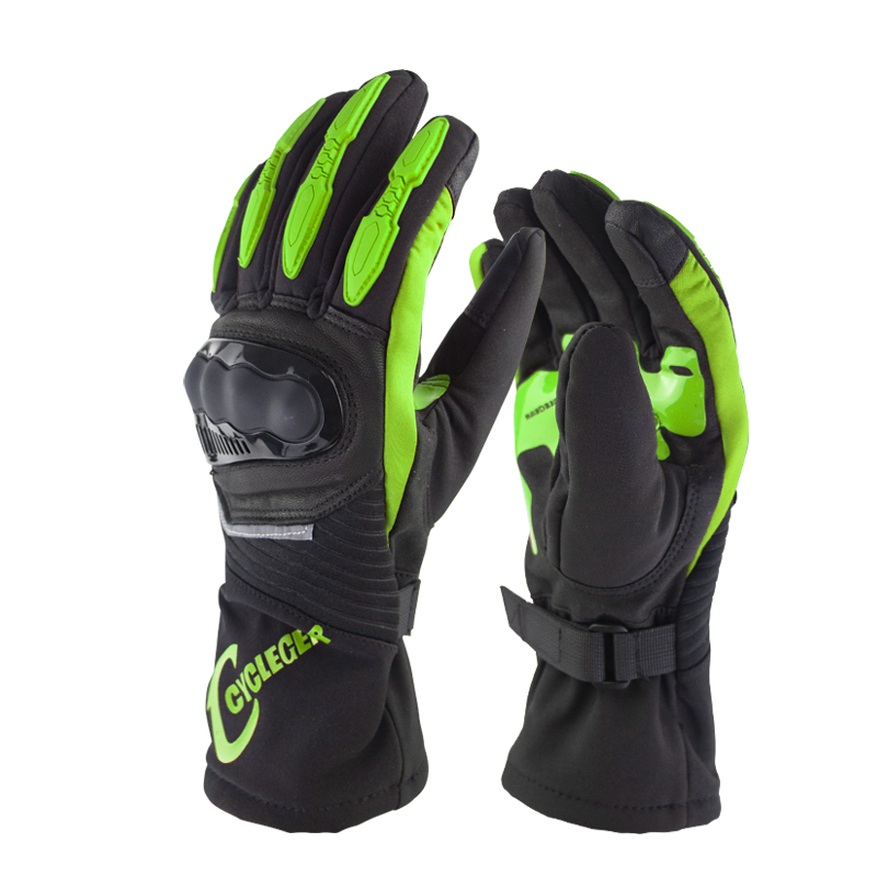 Winter Motorcycle Waterproof Gloves Warm Riding Gloves Full Finger Motocross Glove Long Gloves for Motorcycle green_XL
