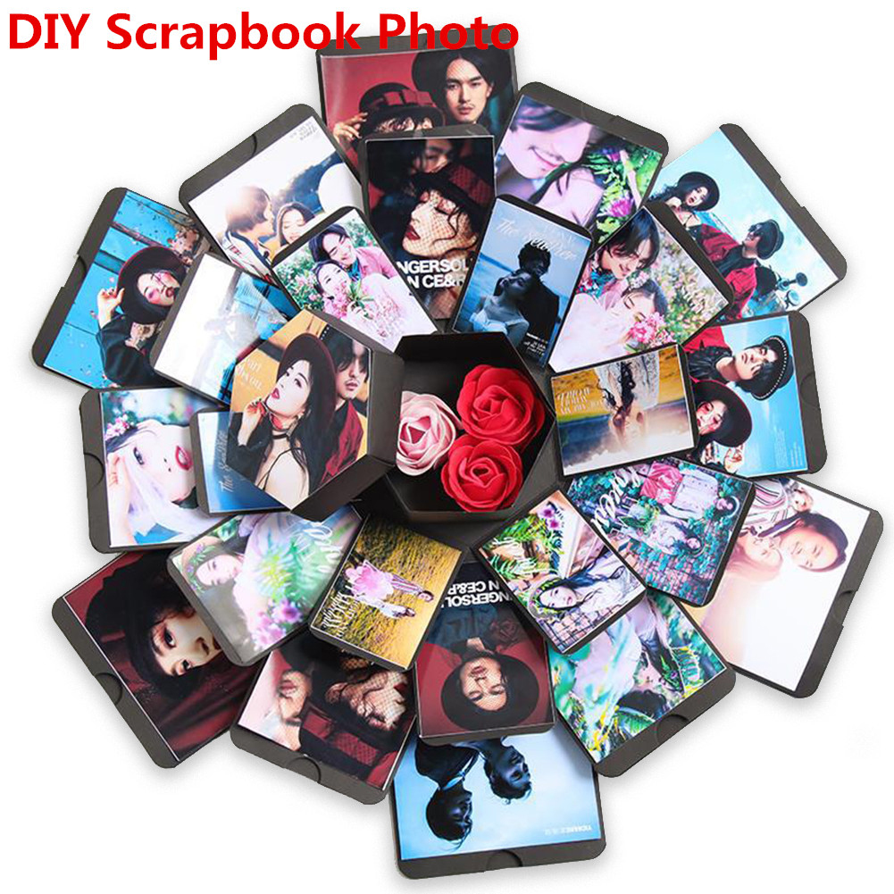 Hexagon Multilayers Surprise Explosion Box DIY Self-adhesion Scrapbook Photo Album for Christmas Birthday Day(Random Ribbon Color) black_42*42CM