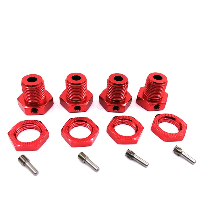 4pcs Wheel Hex Hub 5mm Threadlock Tire Combiner for 1/10 TRAXXAS E-REVO Tire Adapter Wheel Nut for RC Car Parts red