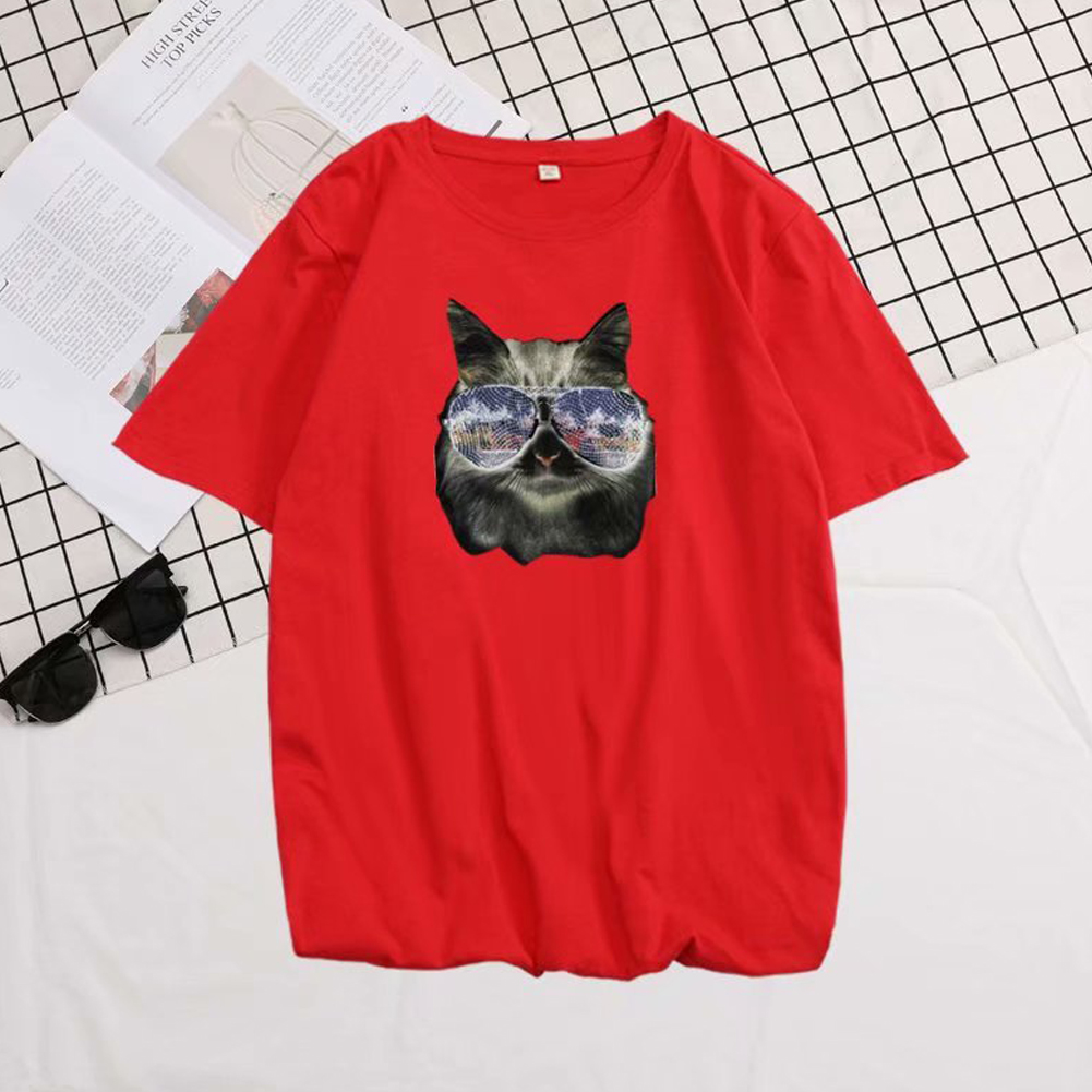 Short Sleeves and Round Neck Shirt Leisure Pullover Top with Animal Pattern Decorated 6105 red_L