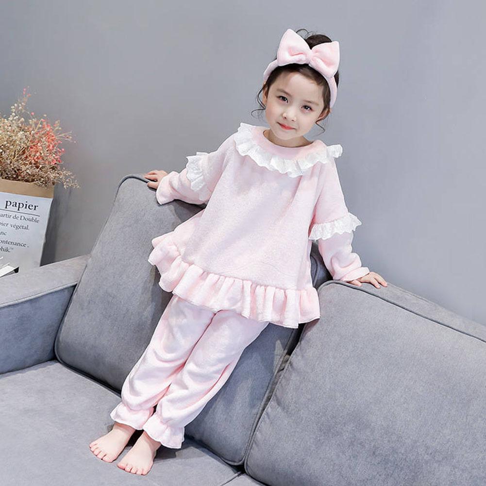 Childern Girls Pajamas Set Homewear Long Sleeve Nighties Sleepwear Suit  Pink_140cm