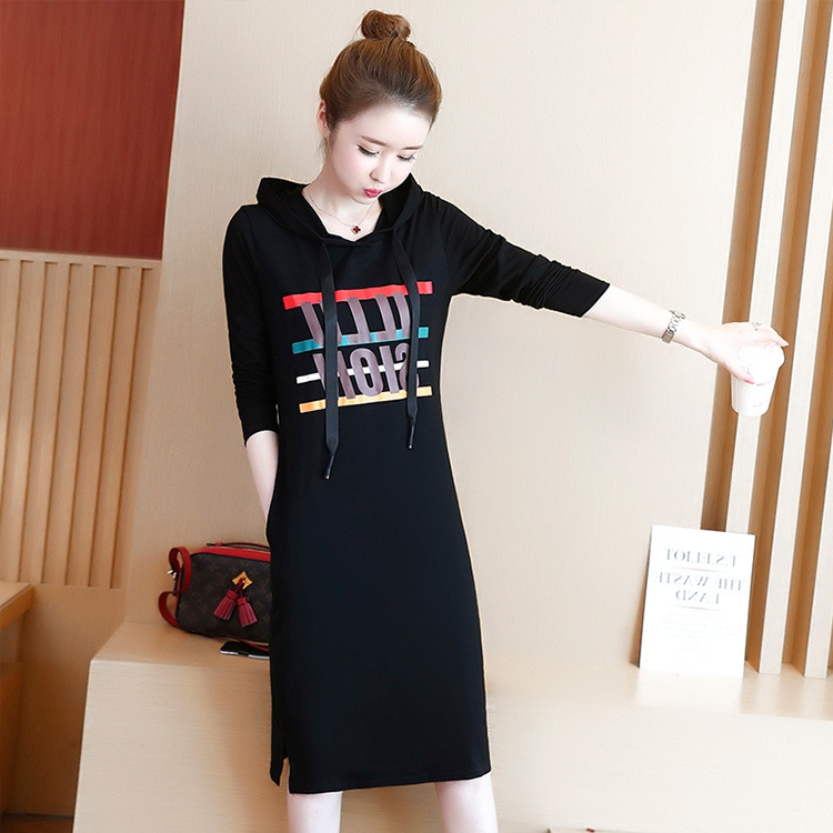 Round Neck Loose Knee Length Dress Hooded Dress with Drawstring Hat  black_L