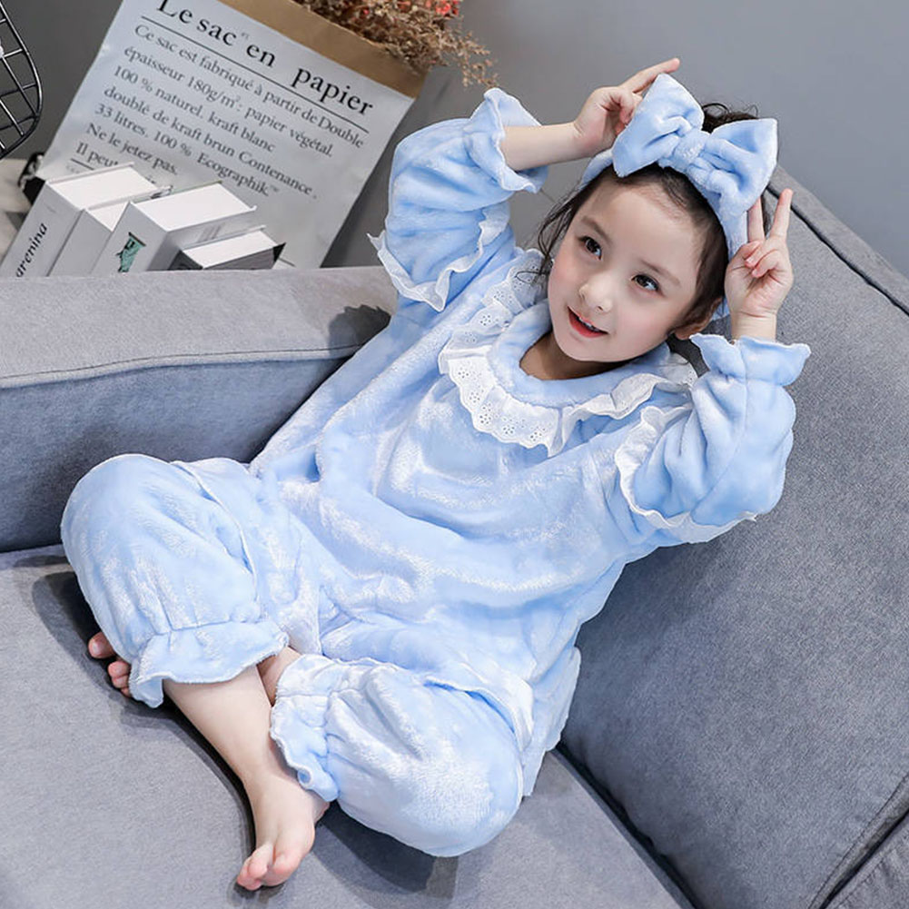 Childern Girls Pajamas Set Homewear Long Sleeve Nighties Sleepwear Suit  Light blue_120cm