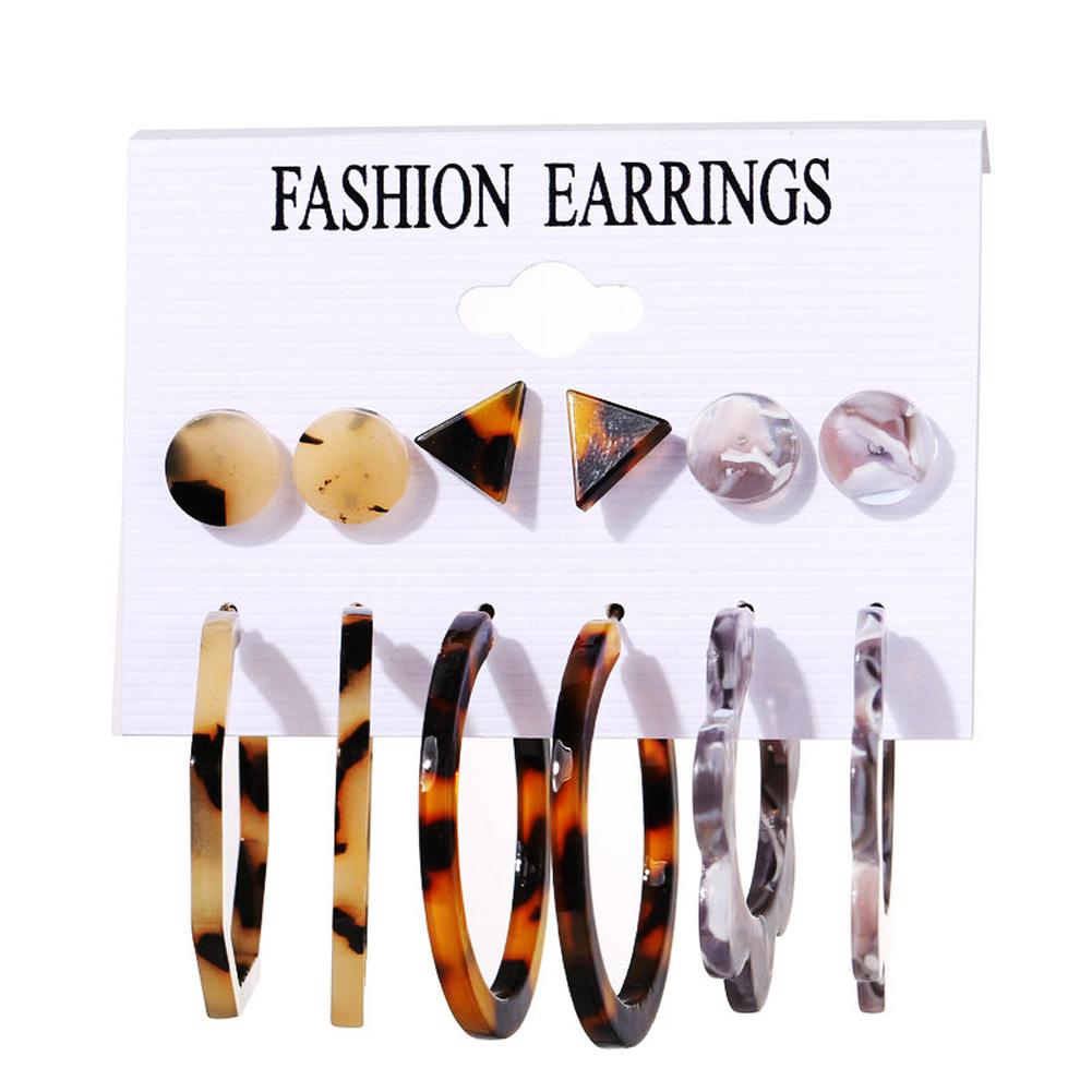 6 Pairs of Women's Earrings Acrylic Geometric Simple Earring Set C14-03-46