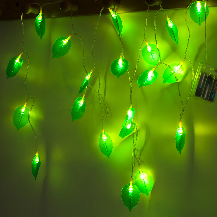 LED Leaves Shape String Light for Indoor Battery Box Powered Decoration yellow
