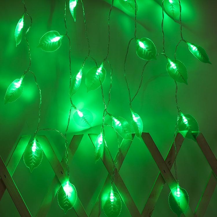 LED Leaves Shape String Light for Indoor Battery Box Powered Decoration White
