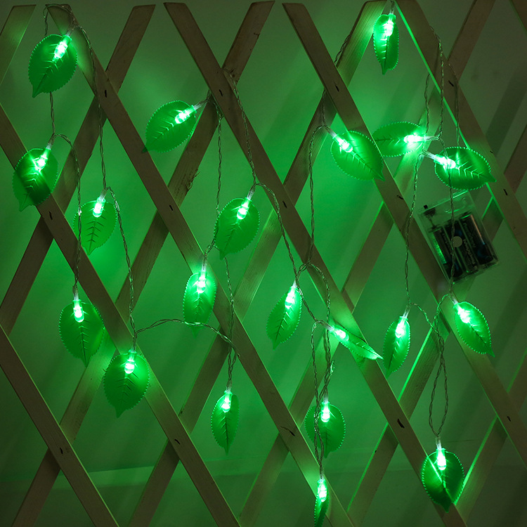 LED Leaves Shape String Light for Indoor Battery Box Powered Decoration green