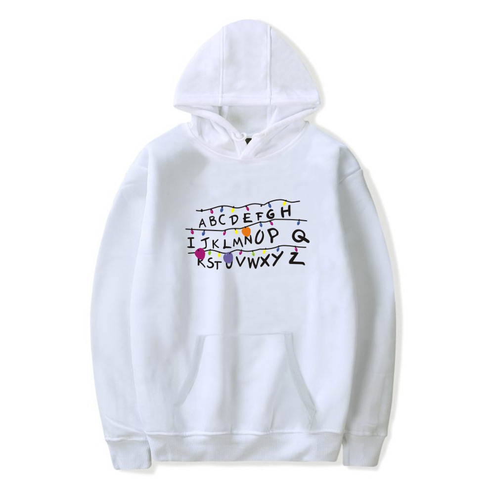 Men Fashion Stranger Things Printing Thickening Casual Pullover Hoodie Tops white---_M