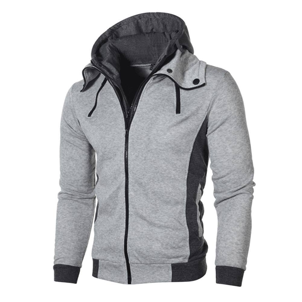 Men Fashion Double Zipper Hooded Sweatshirt Long-Sleeve Casual Coat Tops for Winter Autumn Light gray_XXL
