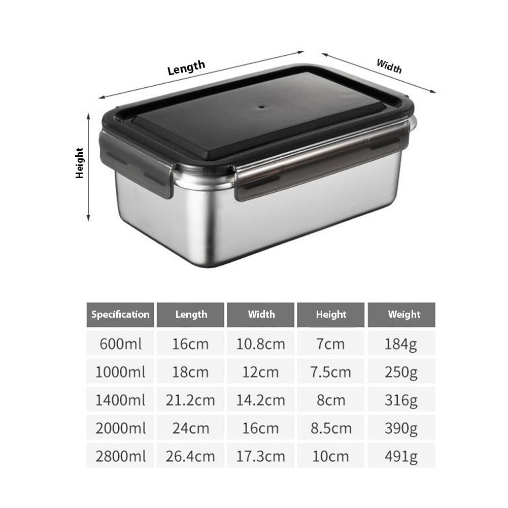 Fresh Keeping Box 316 Stainless Steel Crisper Super Large Capacity Refrigerator Special Frozen Storage Fruit Bento Box