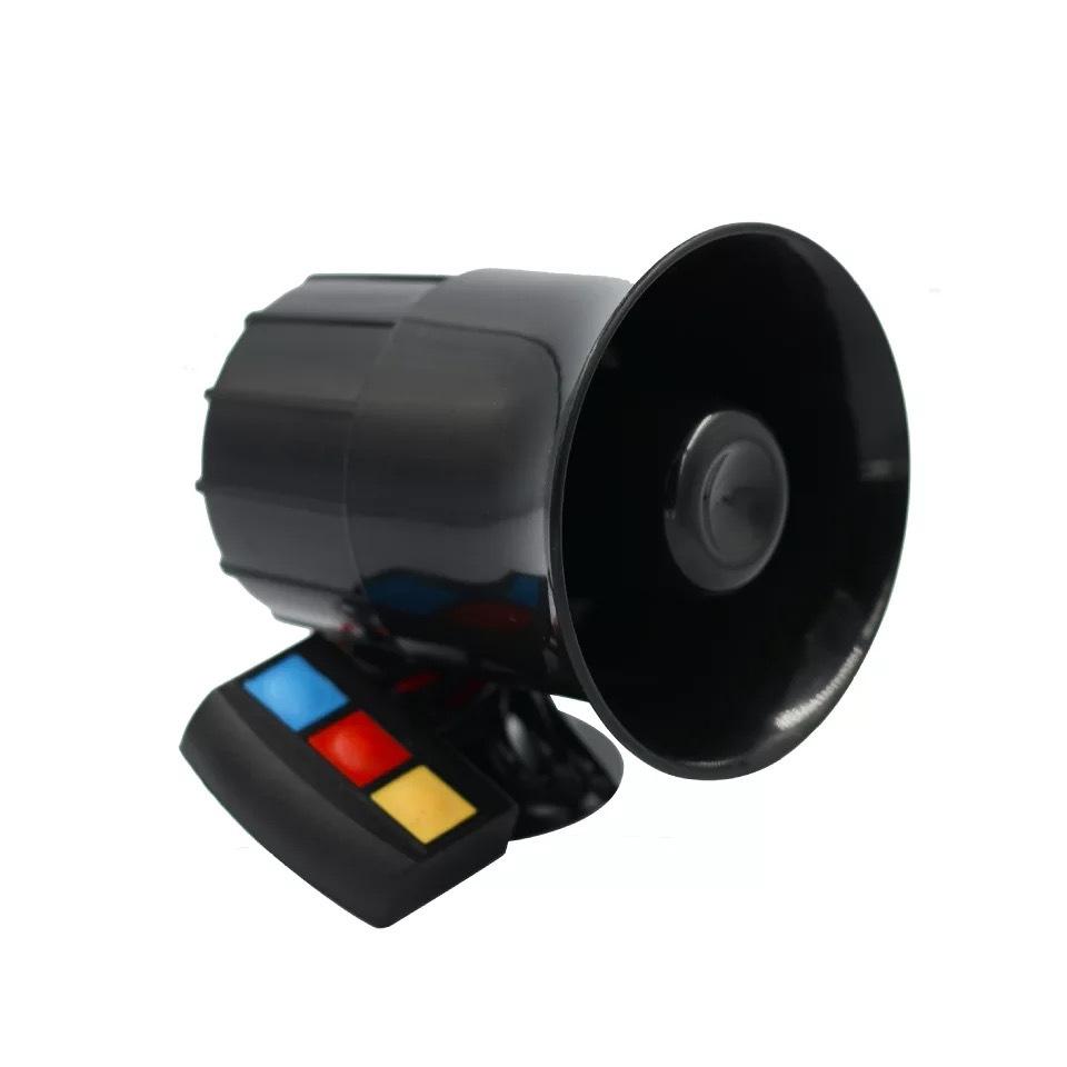 30W 12V 3 Tone Sound Loud Car Motorcycle Warning Alarm Police Fire Siren Horn  black