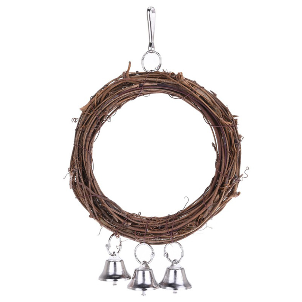 Wood Hanging Swing Ring with Bells Chew Toy for Pet Bird Parrot Standing 15cm