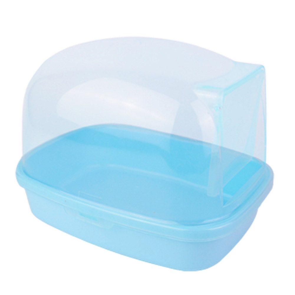Large Transparent Pet Bathroom with Round Corners for Squirrel Chinchilla Hedgehog blue