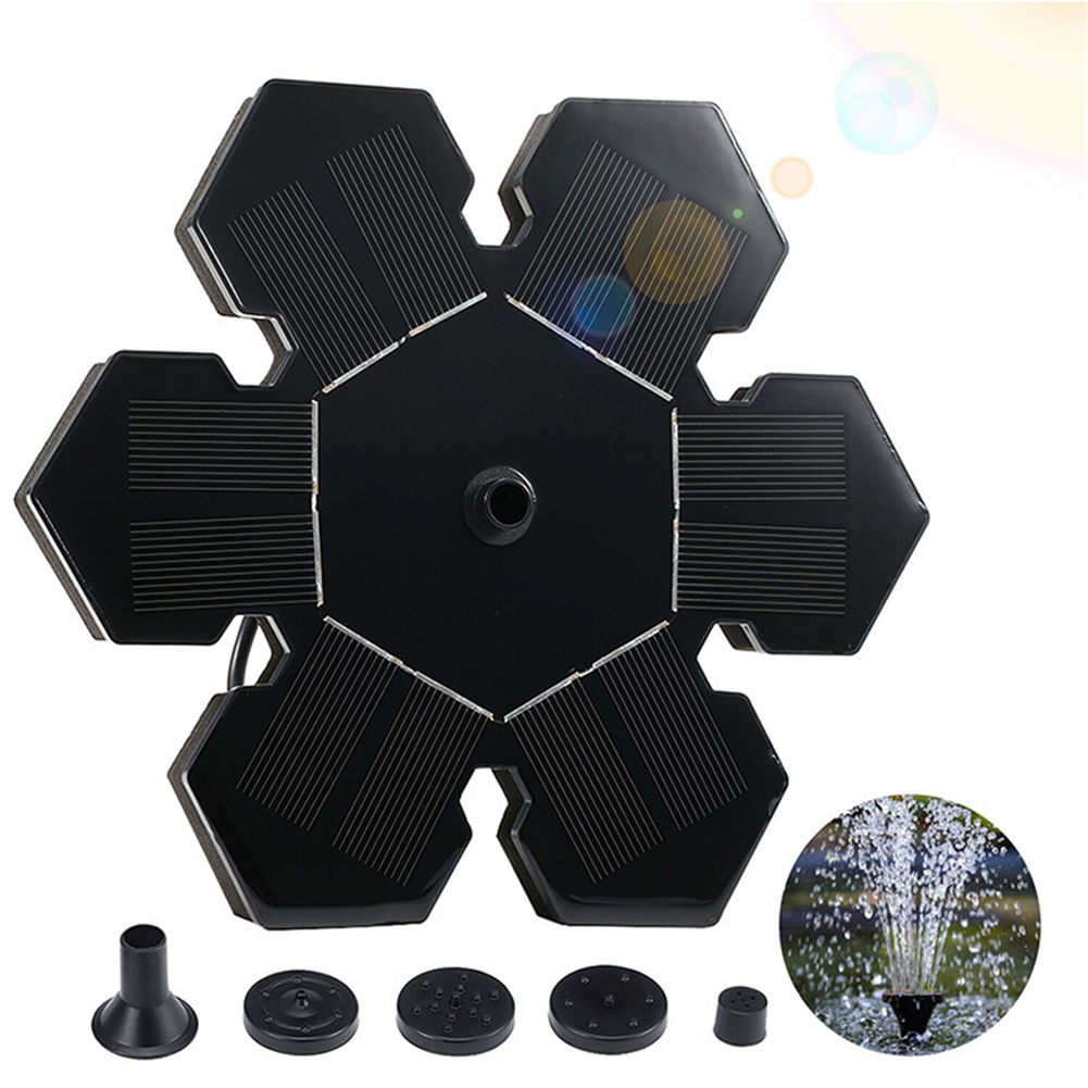 Solar  Fountain Powered Water Pump Floating Pump For Outdoor Pond Garden Pool black