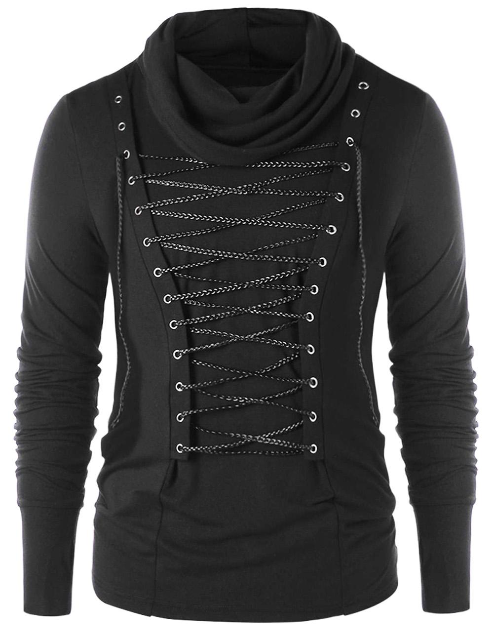 Men Stylish Slim Thermal High Collar Long Sleeve Knitwear Braided Rope Decoration Sweater Tops Stretch Shirt black_L