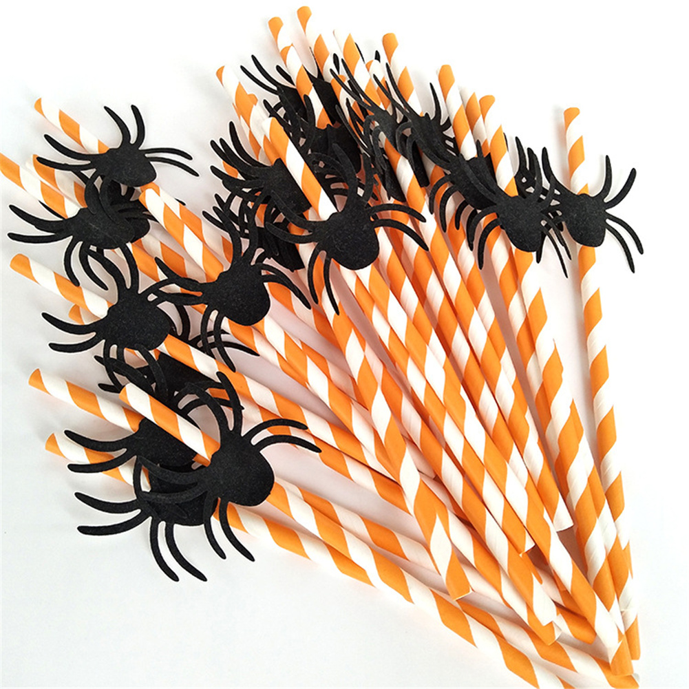 25pcs Halloween Layout Paper  Straws Disposable Decorative Straws For Party Celebration Spider