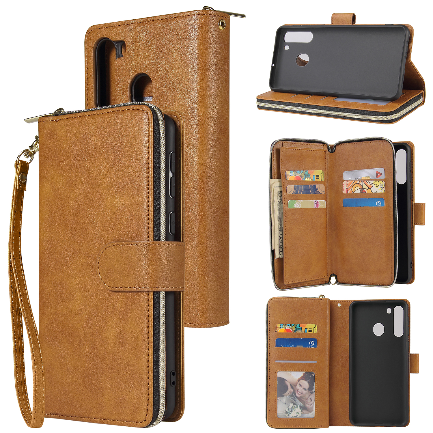 For Samsung A01/A21/A31/A41/A51 Pu Leather  Mobile Phone Cover Zipper Card Bag + Wrist Strap brown