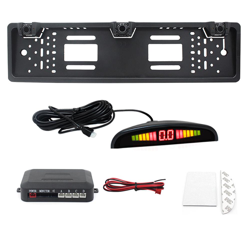 Car Parking Sensor Kit Auto Reversing System European License Plate Camera Front Back Electromagnetic Monitor System black