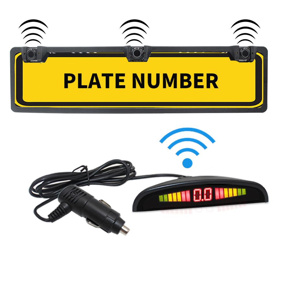 Car Parking Sensor Kit Auto Reversing Radar European License Plate Camera Front Back Electromagnetic Monitor System 3 Sensors black