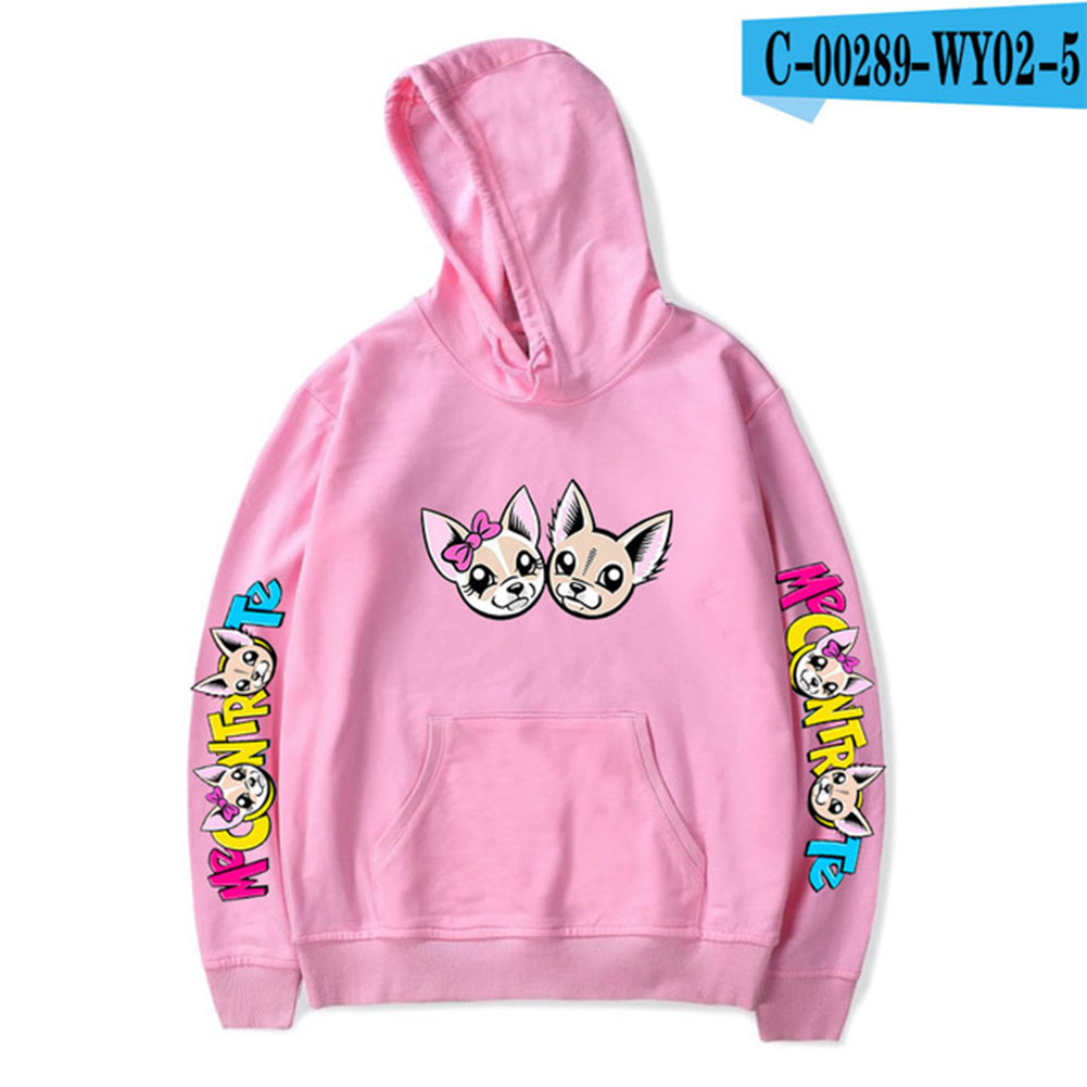 Fashion Me Contro Te Printing Hooded Sweatshirts D pink_L